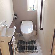 ミサワホーム/無印良品/ニトリ/グラフチェック柄タオル/リクシルのトイレ/トイレマット…などのインテリア実例
