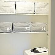 ダイソー新商品/ダイソー/グレーインテリア/収納BOX/白黒グレー/洗面所…などのインテリア実例