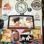 アメリカンカントリー/ジンジャーマン/トールペイント手描き/ブリキ時計/ブリキプレート…などのインテリア実例
