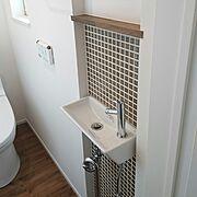 トイレ手洗い/タイル/トイレ/Bathroom…などのインテリア実例