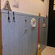セリア/レデッカー/腰壁/北欧暮らしの道具店/かもめ食堂風/Entrance…などのインテリア実例