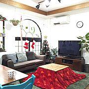 こたつ天板DIY/飾りは全部IKEA♡/ニトリのツリー/クリスマス/植物…などのインテリア実例