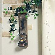ニトリのカーテン/セリアのリメイクシート/ランプシェード/ダイソーのフェイクグリーン/On Walls…などのインテリア実例