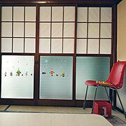 和室だけど/クリスマス/ウォールステッカー/赤いいす/障子/Daiso…などのインテリア実例