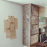 収納棚/古材利用/YUT@CAFE/古材リメイク/収納/My Desk…などのインテリア実例