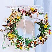 ガーデニング/マリーゴールド/手作りリース/ベランダガーデンの花/セリア/お花大好き♡…などのインテリア実例