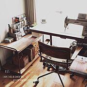 逆光/椅子/イス/ギャッベ/ミシン周り/ブリキ…などのインテリア実例