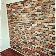 築52年の我が家/寝室DIY/漆喰塗り壁/和室でも洋室に/レンガの壁紙貼ってます/ふすまをdiy…などのインテリア実例