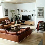 テレビ台/ソファー/ナチュラル/シンプル/無垢材の床/無垢材天井…などのインテリア実例