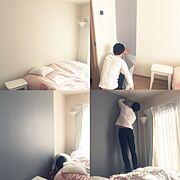 Bedroom/一人暮らし/アクセントクロス/人任せDIY…などのインテリア実例