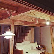 木の家/無垢や天然木が好き/Lounge/照明/シンプル/北欧…などのインテリア実例