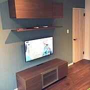 ディスプレイ/男前/好みのサイズで/シンプル/男の子の部屋/テレビ周り…などのインテリア実例