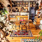 キッチン棚/オープン収納/この字型キッチン/無垢の床/ペンダントライト/スポット照明…などに関連する他の写真
