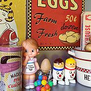 ayuちゃんエッグスタンド/ソフビ人形/ティン缶/リトルタイクスS&P/cocoちゃんのエッグスタンド…などのインテリア実例