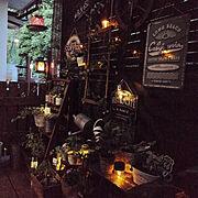 お花屋さん/スチールプレート/車輪/麻紐ラダー/日除け/ウッドデッキDIY …などのインテリア実例