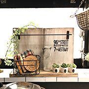 カフェ風/セリア/DIY/雑貨/キッチンカウンター/Kitchen…などに関連する他の写真