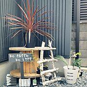転写シート/てづくり/白が好き/ケーブルドラム/庭/garden…などのインテリア実例