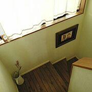 手作りカーテン/階段/男前/ペンキ塗り。/自作ポスター/DIY…などのインテリア実例