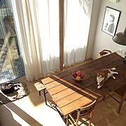 無印良品の家/DIY/ダイニングテーブル/アンティーク加工/My Desk…などのインテリア実例