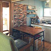 れんが壁紙/ペイント壁/DIY/平屋/中古住宅/Kitchen…などのインテリア実例
