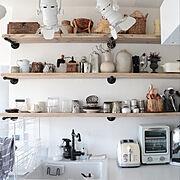 Kitchen/ガス管シェルフ/古材シェルフ/アメブロやってます♪/インテリア…などのインテリア実例