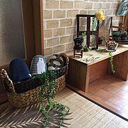 夏インテリア/ニトリ自然素材モニター/ニトリ/akanegumoちゃんからの素敵便♡/皆さんのお陰で励みになってます♡…などのインテリア実例
