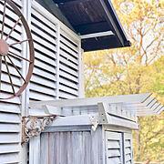ミルキーホワイト/ペンキ塗り/DIY/庭/バーコラの屋根/On Walls…などのインテリア実例
