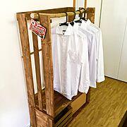 DIY/ダイソー/ワイシャツ掛け/ハンガーラックDIY/Bedroom…などのインテリア実例