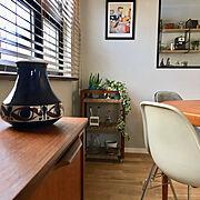 ワゴンリメイク/イームズチェア/麻紐/海外インテリア/ヴィンテージ/北欧家具…などのインテリア実例