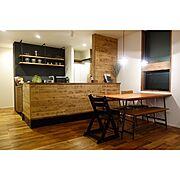 ニトリ/キッチン/100均/ダイニングテーブル/高見え/関家具…などのインテリア実例