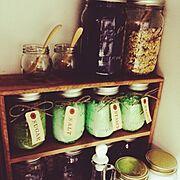 紅茶染め/お気に入り/100均/瓶/タグ/メイソンジャー…などのインテリア実例