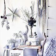 My Desk/パープルコンパクタ/chunky knit blanket/ヴィンテージテイスト…などのインテリア実例