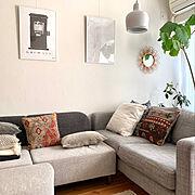 DIY/漆喰壁/IKEAソファ/IKEA/北欧xDIY/北欧インテリア…などのインテリア実例