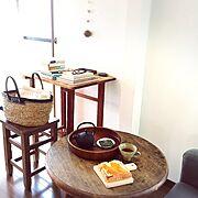 丸テーブル/古道具/和家具/本/朝ごはん/My Desk…などのインテリア実例
