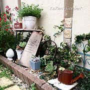 アイアンフェンス/ハーブ/花壇DIY/多肉植物寄せ植え/レンガ花壇/多肉寄せ植え…などのインテリア実例