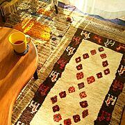 陽射しフェチ/賃貸/暮らし/一人暮らし/絨毯/裂き編み…などのインテリア実例