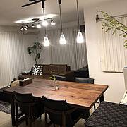 観葉植物/男前/北欧/ブラインド/ダイニングテーブル/ソファ…などのインテリア実例