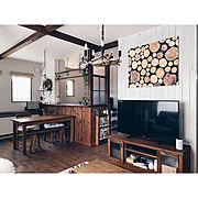 Lounge/蓄熱暖房機/フェイクグリーン/板壁/オールドメゾン/old maison…などのインテリア実例