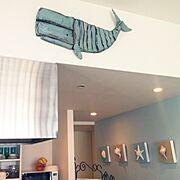 Whale wall artのインテリア実例写真