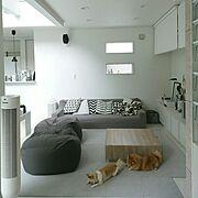 Lounge/DIY/ハンドメイド/グレー/吹き抜け/手作りライト…などのインテリア実例
