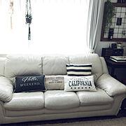 Lounge/ニトリ/男前ナチュラル/クッション/クッションカバー…などのインテリア実例