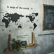 ベッドのレールでチョーク受け/ベルトの棚/世界地図ウォールステッカー/子供部屋…などのインテリア実例
