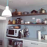 キッチン収納/収納/marimekko/再投稿/アクセントクロス/シンプル…などのインテリア実例