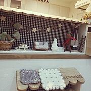 ミンネで購入/みなさんいつもありがとう♡/merci/ニトリ/おうちカフェに憧れて/カフェ風インテリアを目指して…などのインテリア実例
