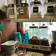 昭和の家/seria ♡/ダイソー/瓶が好き♡/昭和の台所/フライングタイガー…などのインテリア実例