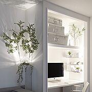 PCスペース/白黒/デスク/mon・o・tone/mon・o・tone/観葉植物…などのインテリア実例