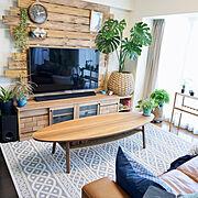 壁掛けテレビ/クッションカバー/ラグ/ニトリ/モンステラ/IKEA…などのインテリア実例