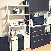 フェイクグリーン/100均/ストライプ/IKEA/ディスプレイ棚/ブレッドケース…などのインテリア実例