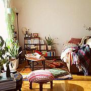かぎ針編み/ウール/キリム/モロッコラグ/手編み/生活感…などのインテリア実例