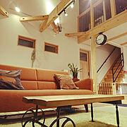 DULTON/サンスベリア/土間リビング/山小屋風/鋼製束/無垢材…などのインテリア実例